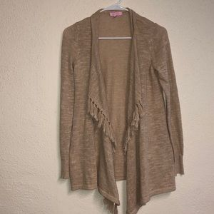 Lily Pulitzer fringe open front cardigan sweater